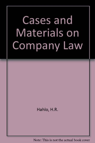 Hahlo's Cases and materials on Company Law.: Hahlo, H.R. & John H. Farrar.