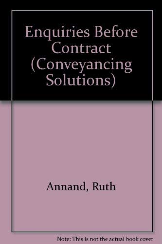 Enquiries Before Contract (Conveyancing solutions): Ruth Annand, Brian