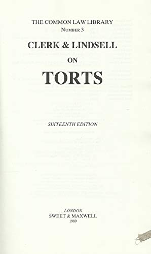 9780421377608: Clerk and Lindsell on Torts (Common Law Library S.)