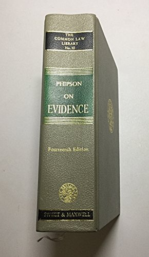 9780421385900: Phipson on Evidence (Common Law Library S.)