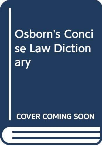 9780421388901: Osborn's Concise Law Dictionary