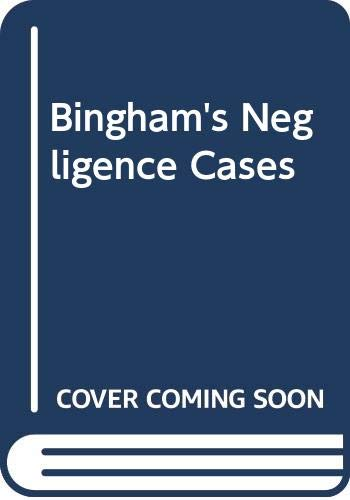 9780421465008: Bingham's Negligence Cases