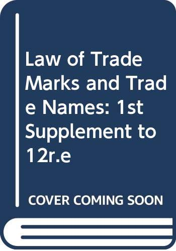 9780421510401: Law of Trade Marks and Trade Names: 1st Supplement to 12r.e