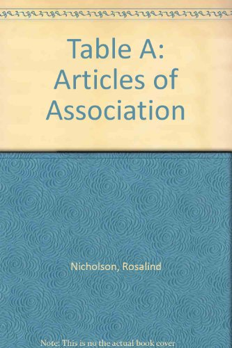 9780421601208: Table A: Articles of Association