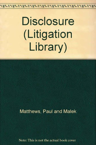 9780421716605: Disclosure (Litigation Library)