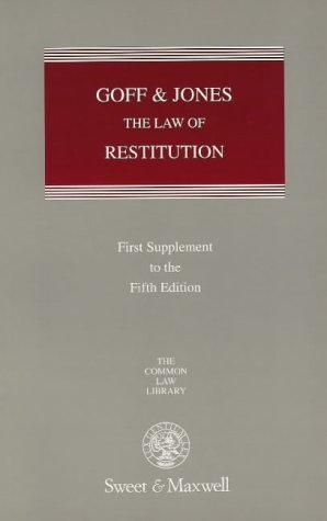9780421719804: Goff and Jones: Restitution: 1st Supplement to the 5th Edition (Common Law Library)