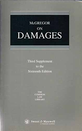9780421766105: Mcgregor on Damages: 3rd Supplement to the 16th Edition (Common Law Library)