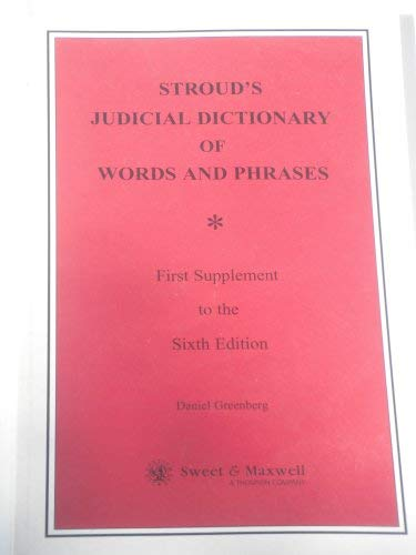 9780421769403: Stroud's Judicial Dictionary of Words and Phrases: 1st Supplement