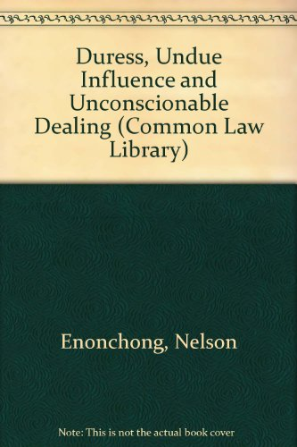 9780421770201: Duress, Undue Influence and Unconscionable Dealing (Common Law Library)