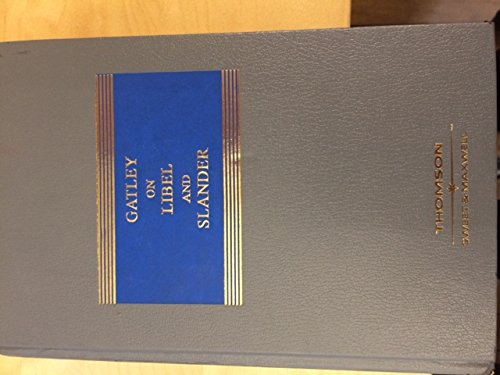 9780421800304: Gatley on Libel and Slander (Common Law Library)