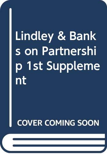Lindley and Banks on Partnership: 1st Supplement: Banks, Roderick I'Anson