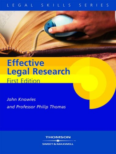 9780421922709: Knowles and Thomas: Effective Legal Research