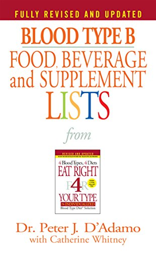9780425183120: Blood Type B Food, Beverage and Supplement Lists