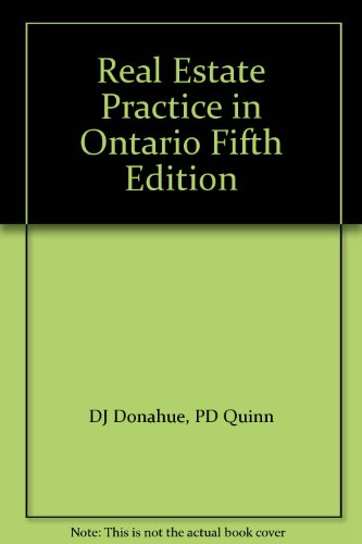 9780433396246: Real Estate Practice in Ontario Fifth Edition