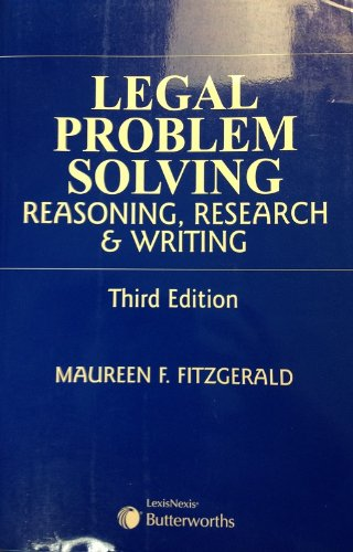 9780433442875: Legal Problem Solving Reasoning, Research & Writing. Third Edition