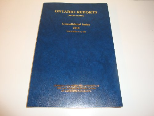 Ontario Reports (Third Series) Consolidated Index 2010: n/a