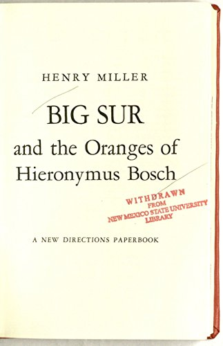 9780434467013: Big Sur and the Oranges of Hieronymus Bosch