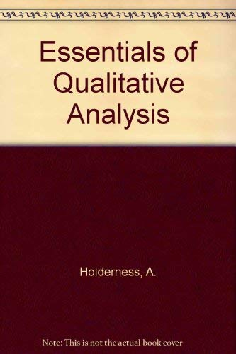 Essentials of Qualitative Analysis (0435655353) by Holderness, A.; Lambert, John
