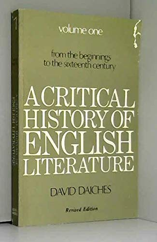 9780436121043: A Critical History of English Literature: v. 1