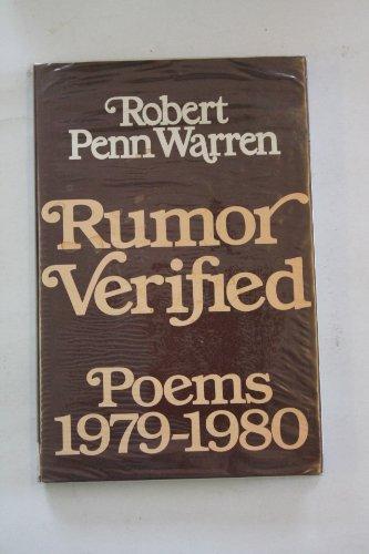 9780436563188: 'RUMOUR VERIFIED: POEMS, 1979-80'