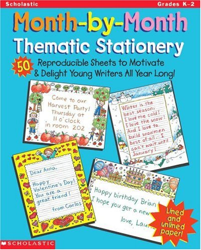 9780439043922: Month-by-Month Thematic Stationery: 50 Reproducible Sheets to Delight & Motivate Young Writers