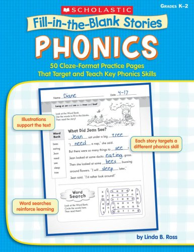 9780439458634: Phonics: 50 Cloze-Format Practice Pages That Target and Teach Key Phonics Skills (Fill-in-the-blank Stories)
