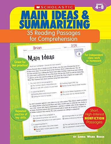 9780439554121: Main Ideas & Summarizing: Grades 4-8 (35 Reading Passages for Comprehension)