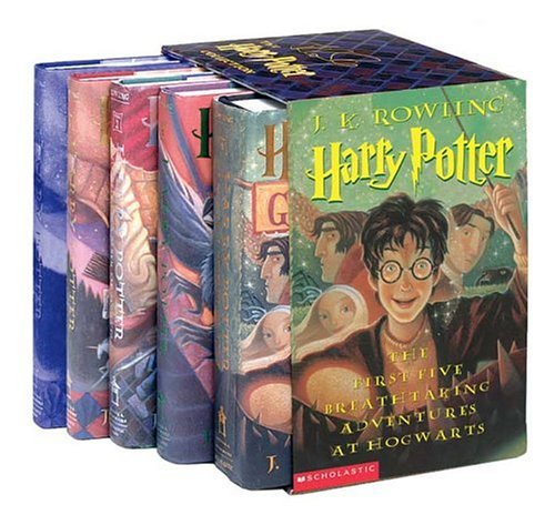 9780439612555: Harry Potter Hardcover Box Set with Leather Bookmark (Books 1-5)