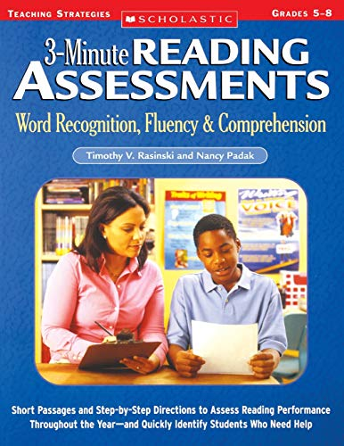 9780439650908: 3-Minute Reading Assessments: Word Recognition, Fluency, and Comprehension: Grades 5-8