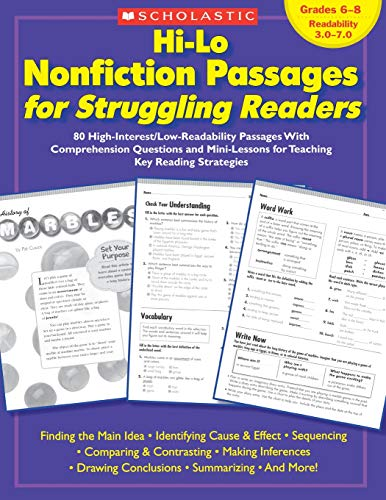 9780439694988: Hi-Lo Nonfiction Passages for Struggling Readers: Grades 6–8: 80 High-Interest/Low-Readability Passages With Comprehension Questions and Mini-Lessons for Teaching Key Reading Strategies