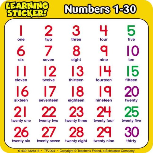 9780439732819: Numbers 1-30 Learning Stickers