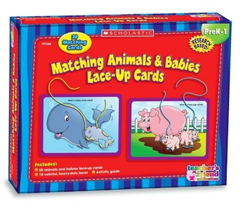 9780439912198: Matching Animals & Babies Lace-Up Cards