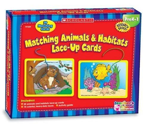 9780439912211: Matching Animals & Habitats Lace-Up Cards
