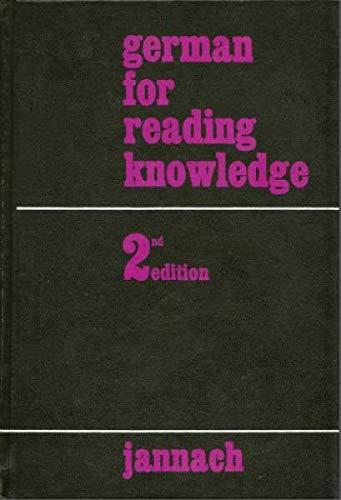 German for Reading Knowledge, second edition: Jannach, Hubert