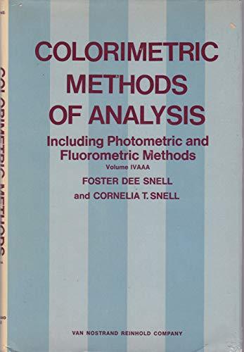 9780442278533: Colorimetric Methods of Analysis