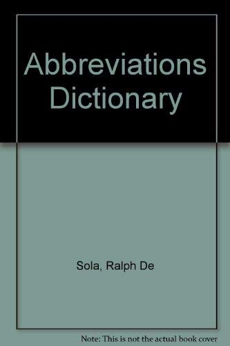 9780444001399: Abbreviations Dictionary
