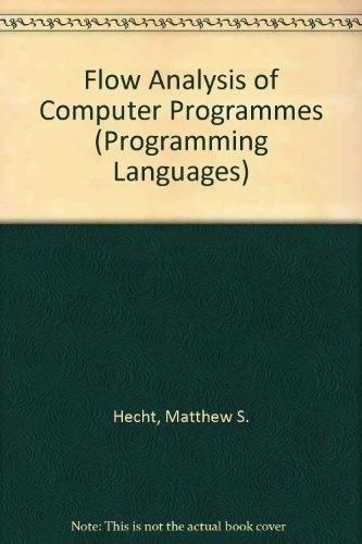 9780444002105: Flow Analysis of Computer Programmes (Programming Languages)