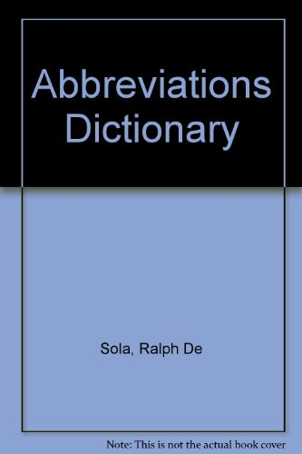 9780444008077: Abbreviations Dictionary