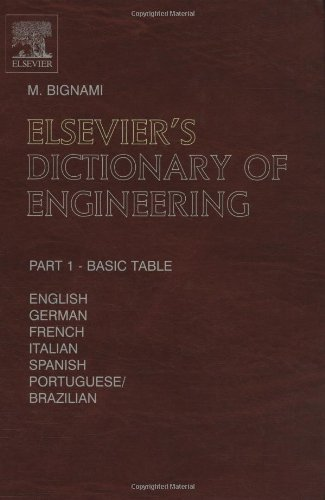 9780444514677: Elsevier's Dictionary of Engineering: In English/American, German, French, Italian, Spanish and Portuguese/Brazilian 10, 987 terms 1490 pages in two volumes