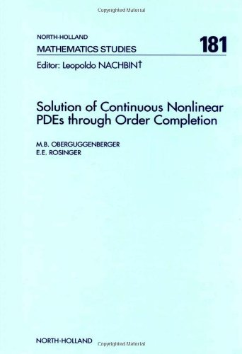 9780444820358: Solution of Continuous Nonlinear Pdes Through Order Completion (North-holland Mathematical Library)