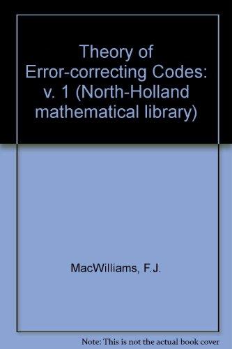 9780444850096: Theory of Error-correcting Codes: v. 1