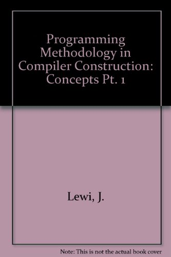 9780444852885: Programming Methodology in Compiler Construction: Concepts Pt. 1