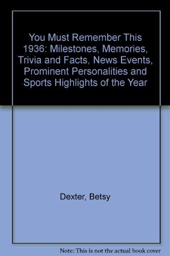 9780446911498: You Must Remember This 1936: Milestones, Memories, Trivia and Facts, News Events, Prominent Personalities and Sports Highlights of the Year