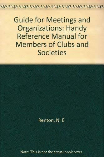 9780455166407: Guide for Meetings and Organizations: Handy Reference Manual for Members of Clubs and Societies