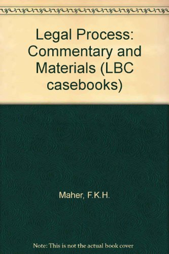9780455207834: Legal Process: Commentary and Materials (LBC Casebooks)