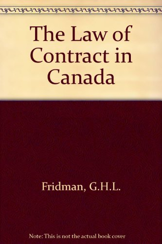 9780459270650: The Law of Contract in Canada