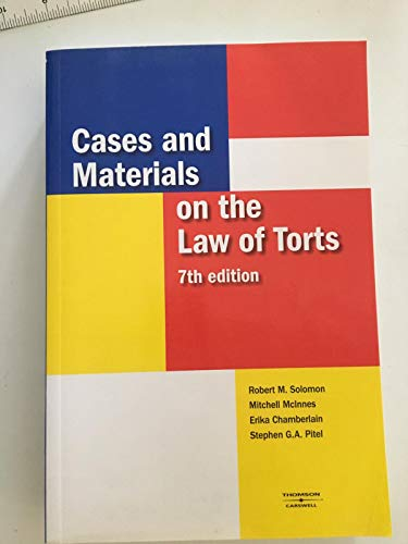 9780459346508: Cases and materials on the law of torts