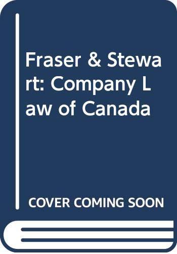 9780459567781: Fraser & Stewart: Company Law of Canada