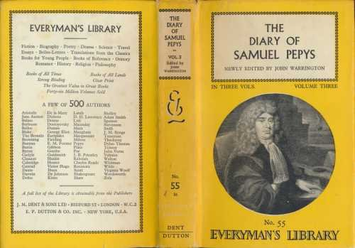 9780460000550: The Diary of Samuel Pepys: Volume 3 (Everyman's Library)