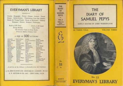 9780460000550: The Diary of Samuel Pepys: Volume 3 (Everyman's Library)